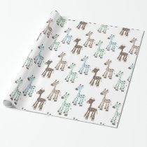 Beautiful Blue Giraffe Baby Pattern Wrapping Paper