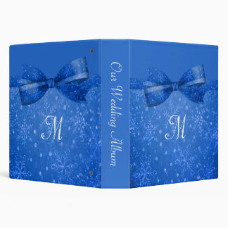 Beautiful Blue & Glitter Shimmer Snowflakes Vinyl Binder