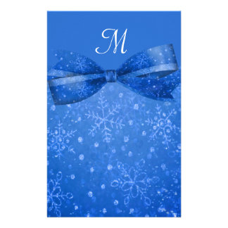 Beautiful Blue & Glitter Shimmer Snowflakes Stationery