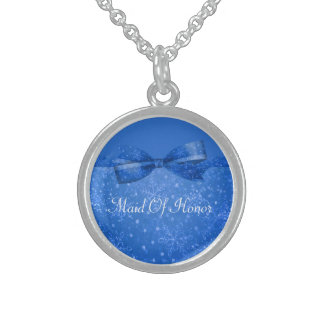 Beautiful Blue & Glitter Shimmer Snowflakes Sterling Silver Necklace