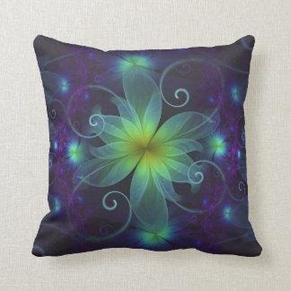 Beautiful Blue-Green Stargazer Lily Fractal Flower Throw Pillow
