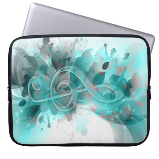 Beautiful blue grey cool splatter flowers leaves laptop sleeves