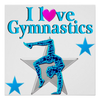 BEAUTIFUL BLUE I LOVE GYMNASTICS POSTER