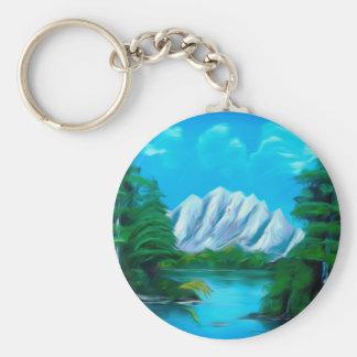 Beautiful Blue Lake Dreamy Mirage Keychain