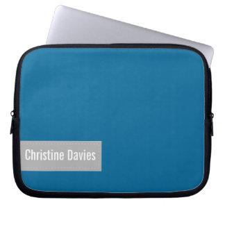 Beautiful blue laptop sleeve with your name
