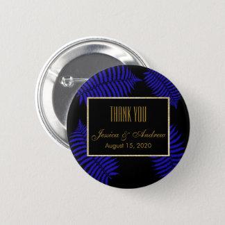 Beautiful Blue Leaf Bracken Wedding Button