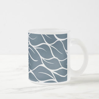 Beautiful blue Leaves Design Frosted Glass Coffee Mug