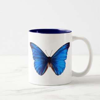 Beautiful Blue Monrach butterfly vintage art Two-Tone Coffee Mug