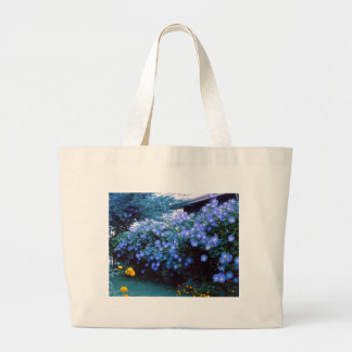 Beautiful blue morning glory flowers large tote bag