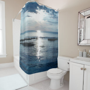 Beautiful Blue Ocean Sunset Over Cape Cod Shower Curtain
