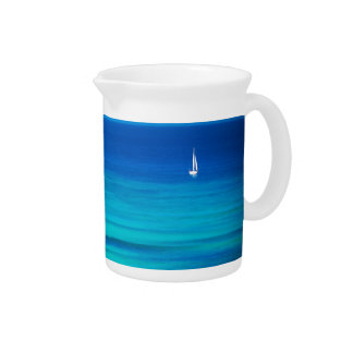 Beautiful Blue Ocean with white sailboat Drink Pitchers