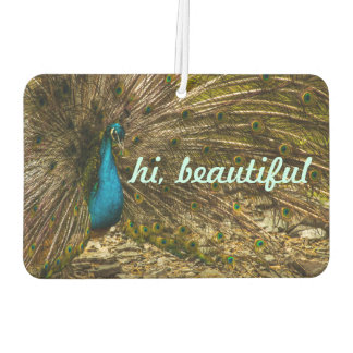 Beautiful Blue Peacock with Open Tail Feathers Air Freshener