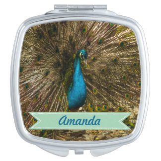 Beautiful Blue Peacock with Open Tail Feathers Makeup Mirror