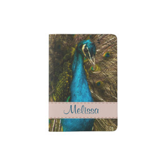 Beautiful Blue Peacock with Open Tail Feathers Passport Holder
