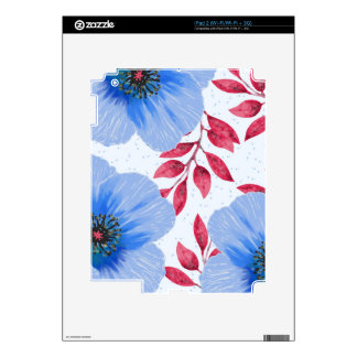 Beautiful Blue Poppy Flowers Pattern iPad 2 Decals