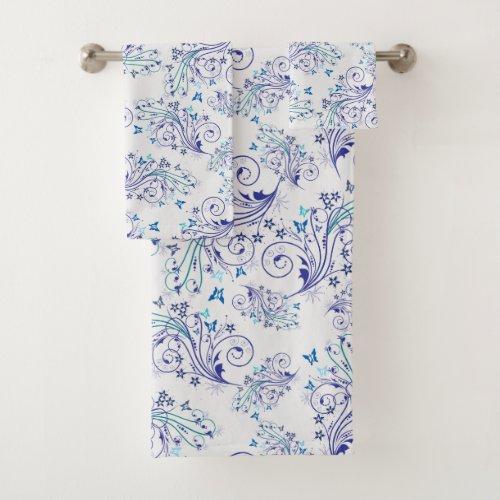 Beautiful Blue Pretty Wispy Winter Pattern Flowers Bath Towel Set