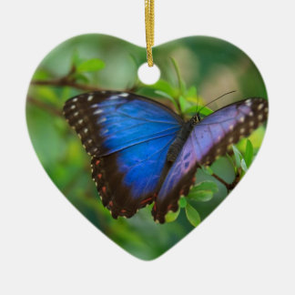 Beautiful Blue Purple and Black Butterfly Double-Sided Heart Ceramic Christmas Ornament