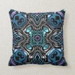 Beautiful Blue, Purple & Silver Pattern Throw Pillows