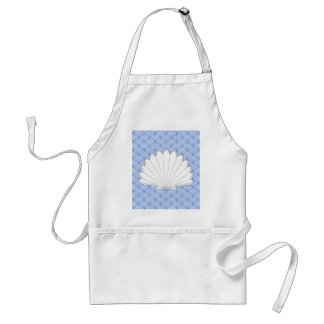 Beautiful Blue Scallop Shell Repeating Pattern Aprons