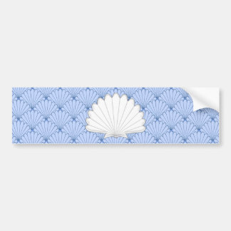Beautiful Blue Scallop Shell Repeating Pattern Bumper Sticker