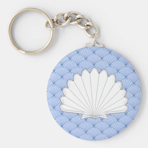 Beautiful Blue Scallop Shell Repeating Pattern Keychain