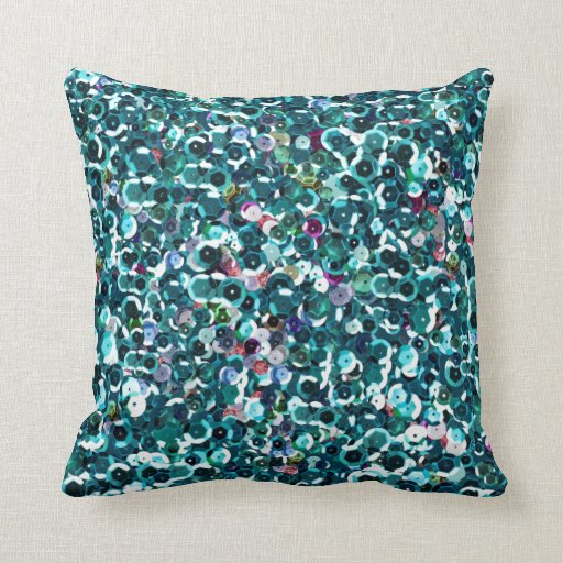 Beautiful Blue Sequins Throw Pillows Zazzle