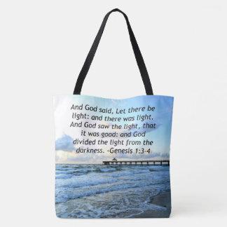 BEAUTIFUL BLUE SKIES GENESIS 1:3 PHOTO DESIGN TOTE BAG