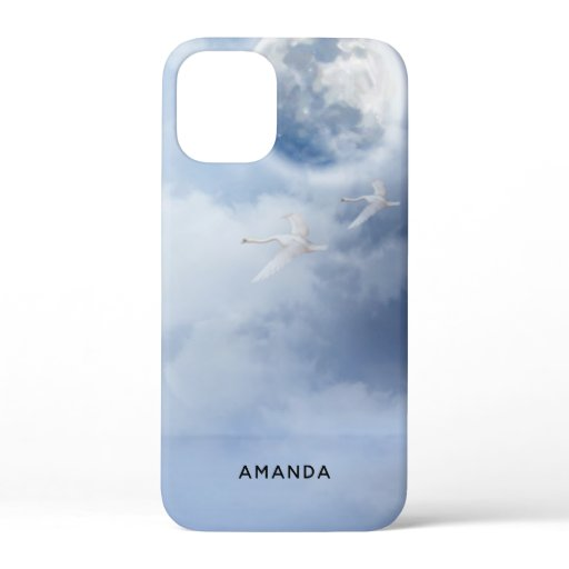 Beautiful Blue Sky with Flying Swans iPhone 12 Mini Case