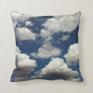 Beautiful Blue sky with Puffy Clouds Pillow
