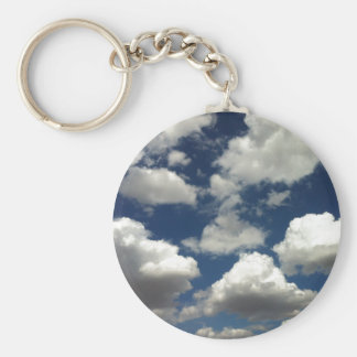 Beautiful Blue Sky with Puffy White Clouds Keychain