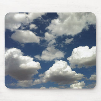 Beautiful Blue Sky with Puffy White Clouds Mouse Pad