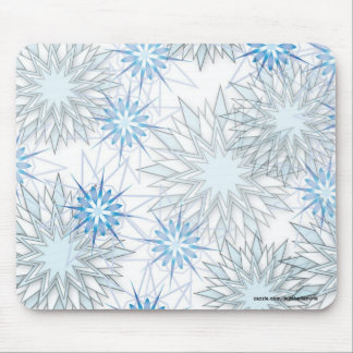 Beautiful Blue Snowflakes Abstract Pattern Mouse Pad