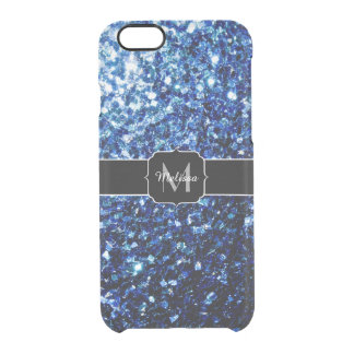 Beautiful Blue sparkles Monogram Uncommon Clearly™ Deflector iPhone 6 Case
