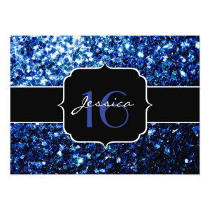 Beautiful Blue sparkles Sweet 16 5.5x7.5 Paper Invitation Card