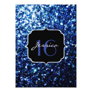 Beautiful Blue sparkles Sweet 16 5.5x7.5 Paper Invitation Card
