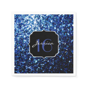 Beautiful Blue sparkles Sweet 16 paper napkins