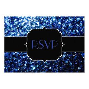 Beautiful Blue sparkles Sweet 16 RSVP 3.5x5 Paper Invitation Card
