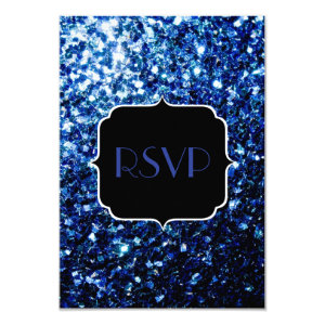 Beautiful Blue sparkles Sweet 16 RSVP 3.5x5 Paper Invitation Card