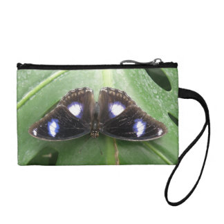 Beautiful Blue Spotted Butterfly Bagettes Bag Change Purse