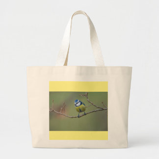 beautiful blue tit sitting on branch large tote bag