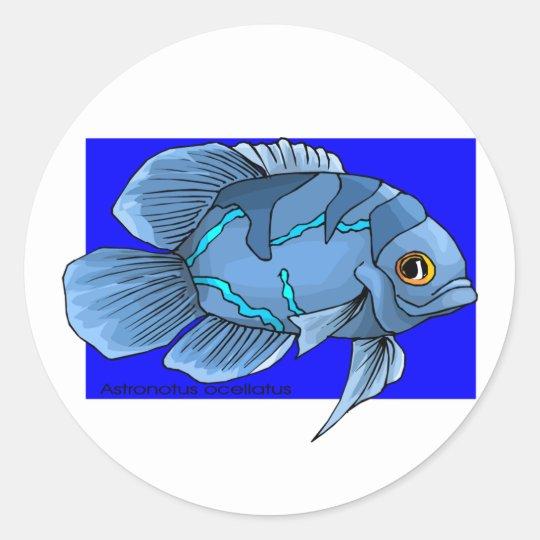Beautiful Blue Tropical Oscar Fish Classic Round Sticker
