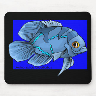 Beautiful Blue Tropical Oscar Fish Mouse Pad