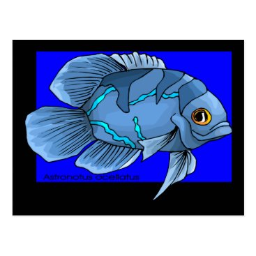 Beach Themed Beautiful Blue Tropical Oscar Fish Postcard