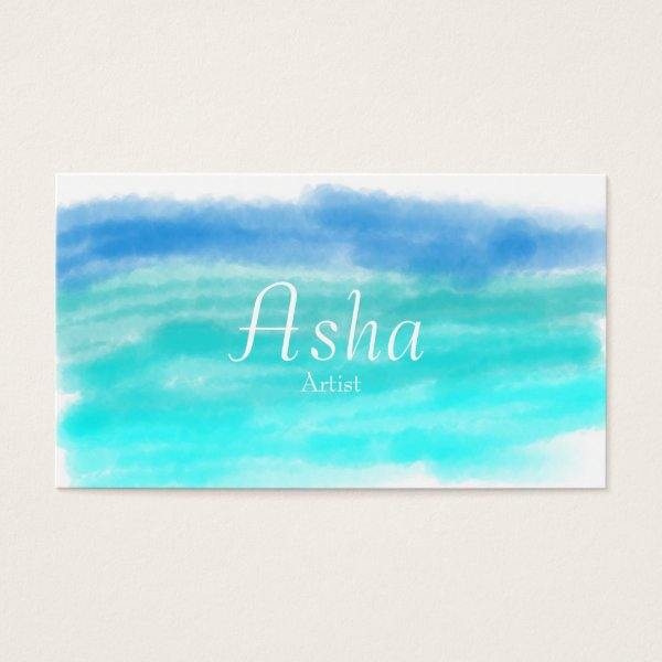 Beautiful blue watercolor business card