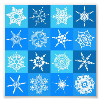 Beautiful blue white Abstract Art Ice Cubes Photo Print