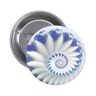 Beautiful Blue & White Sea Shell Abstract Art Button