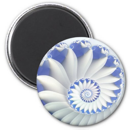 Beautiful Blue & White Sea Shell Abstract Art Magnet