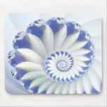 Beautiful Blue & White Sea Shell Abstract Art Mouse Pad