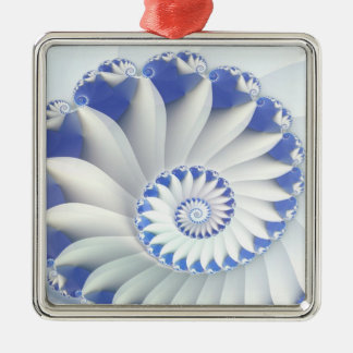 Beautiful Blue & White Sea Shell Abstract Art Christmas Ornaments