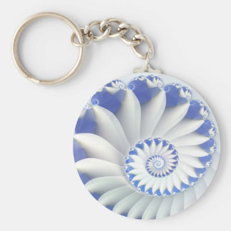 Beautiful Blue & White Sea Shell Fine Fractal Art Basic Round Button Keychain